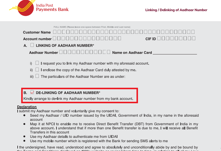 how to delink aadhar from post office schemes