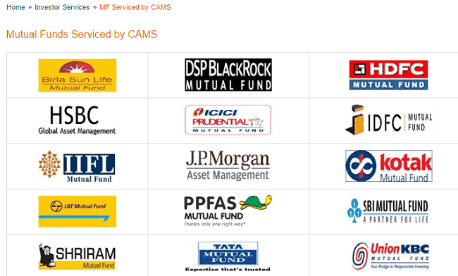 List of AMC serviced by CAMS