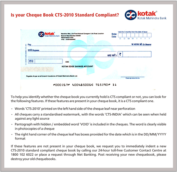 Cheque Truncation System CTS cheque sample