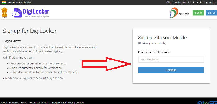 Digilocker signUp step1