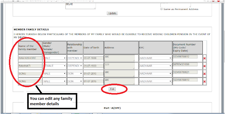 You can edit or even delete any family member details