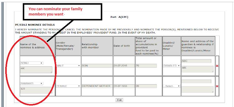 You can nominate family members from the details mentioned about family