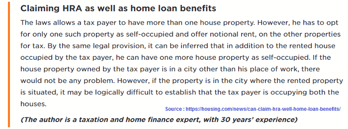 Rules regarding HRA and home loan benefits