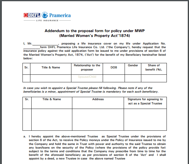 mwp act addendum while buying life insurance policy