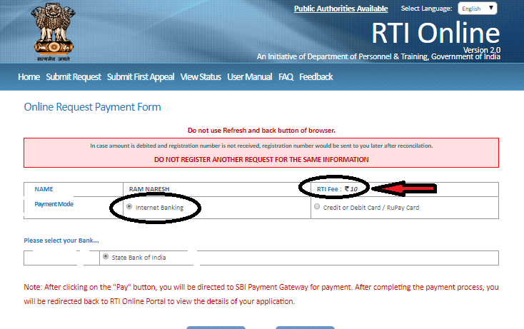 how to make online payment for RTI application