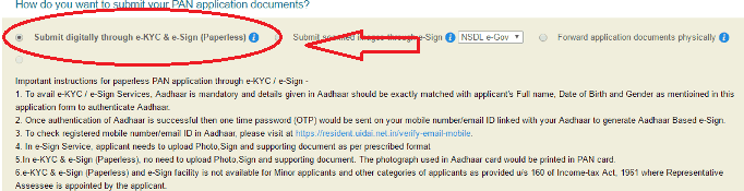 link aadhaar card while applying for new PAN