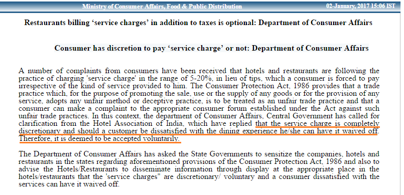 Service charge is not mandatory to pay in hotels and restaurants
