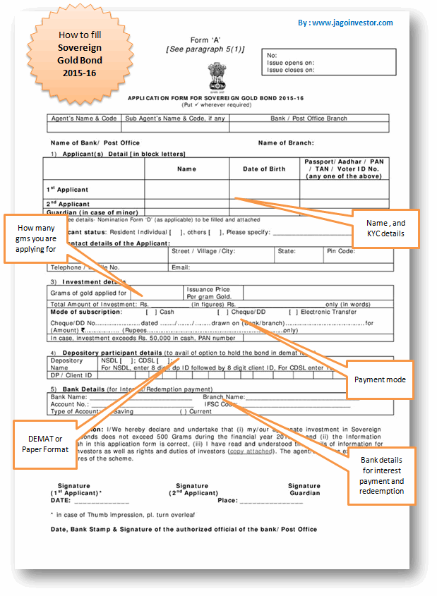 Sovereign Gold Bond Scheme form sample