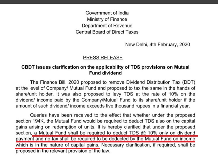 Clarification from govt that TDS will only apply on TDS from mutual funds and not on capital gains