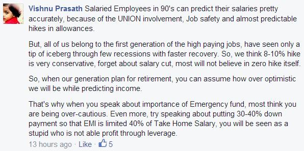 Vishnu Prasath reply for overestimation of future income