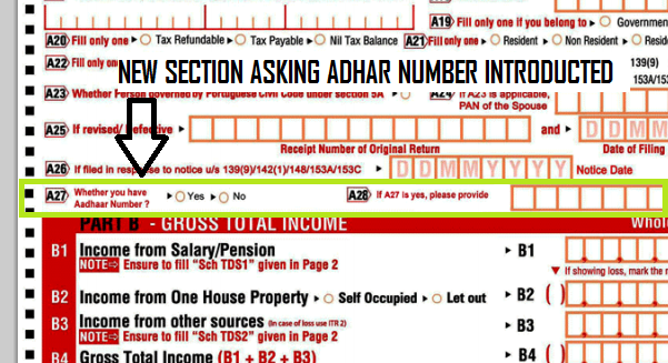 aadhar card section in ITR form