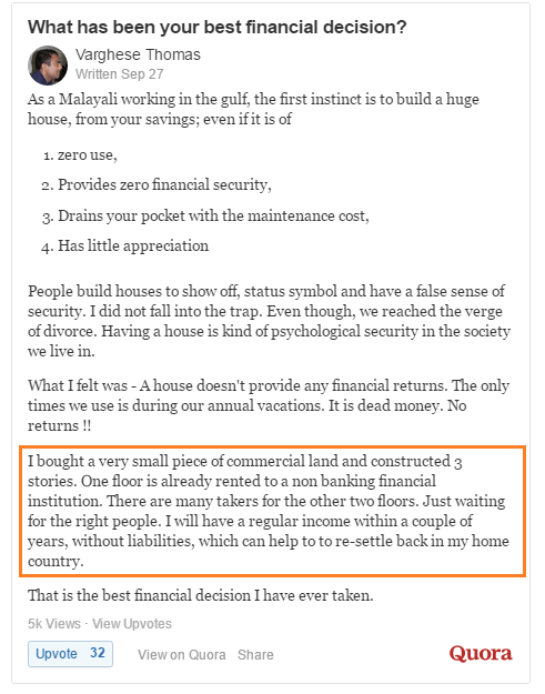 Example of a person explaining his best financial decision on quora