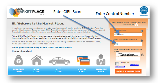 cibil marketplace enter data