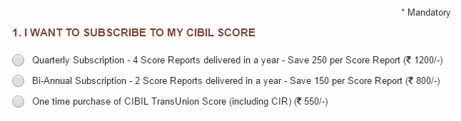 cibil subscription charges