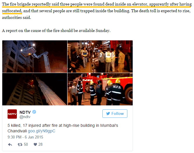 death in elevator due to fire india