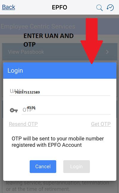 enter otp sent on registered mobile number to check epf balance through umang app