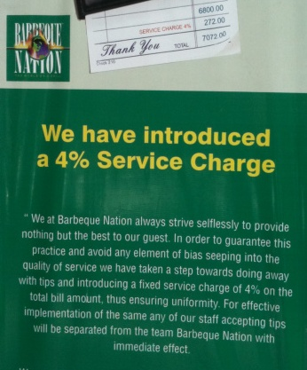 Service Charge at Barbeque Nation