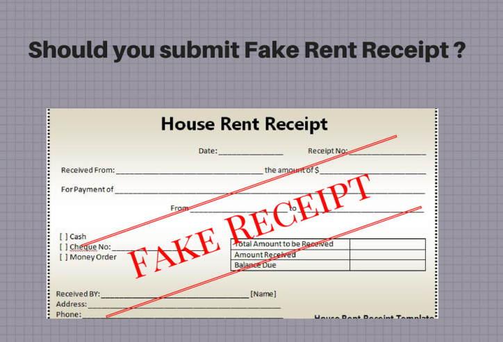 fake rent receipt to claim HRA
