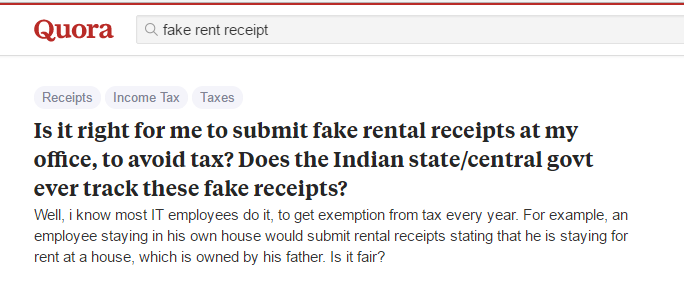fake rent receipts related question