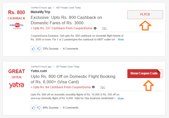 Flight booking coupons