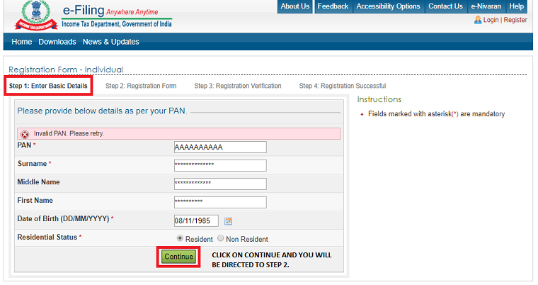 to register on e-filling income tax website to view your form26AS
