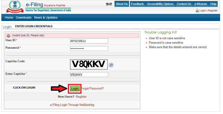 login in to e-filling website to view your form 26AS