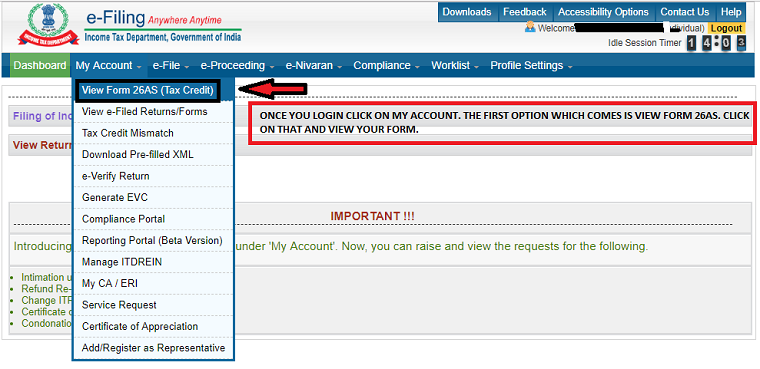 after login click on my accounts and then click on view form 26 AS