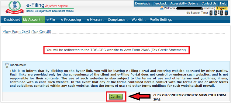 once you click on view tax credit you get this window where you have to accept to there disclaimer. Now click on confirm
