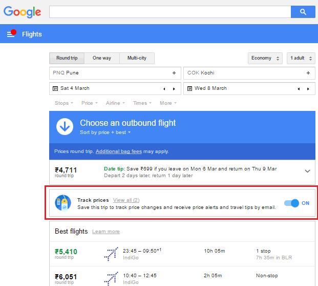 Google flight alerts