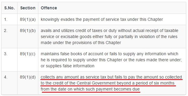 illegal service tax rules