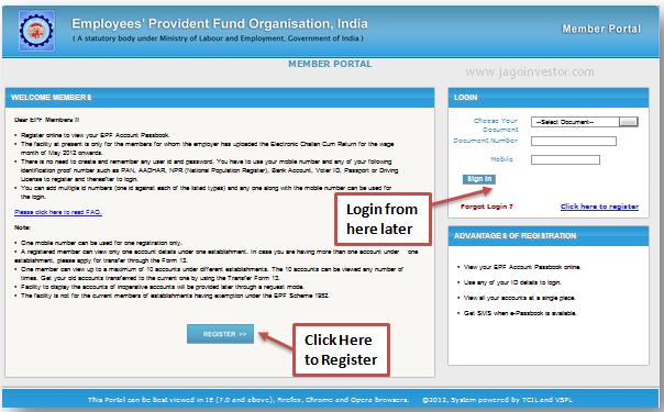 Register for EPF e-passbook