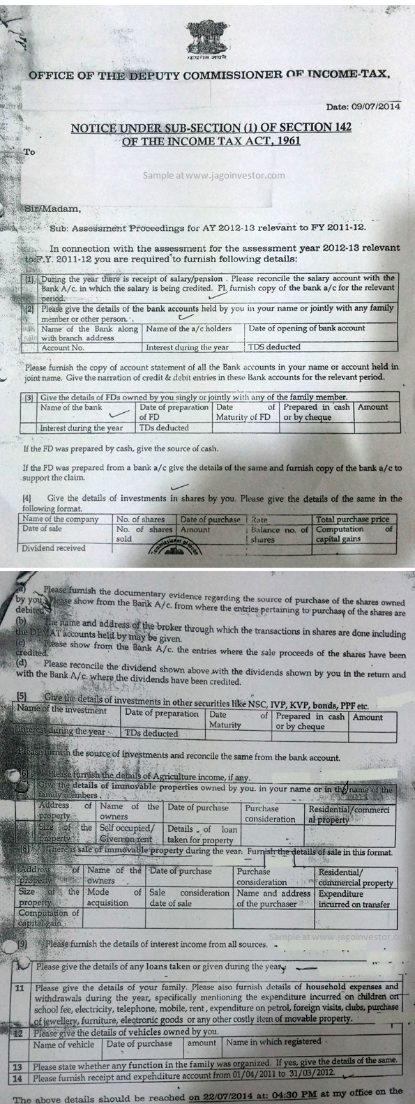 Income Tax Notice Sample