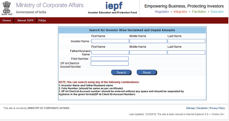 investor can search for unclaimed and unpaid amount of IEPF government portal