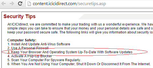 keep browser up to date for secured banking