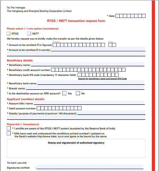 corporation bank rtgs form