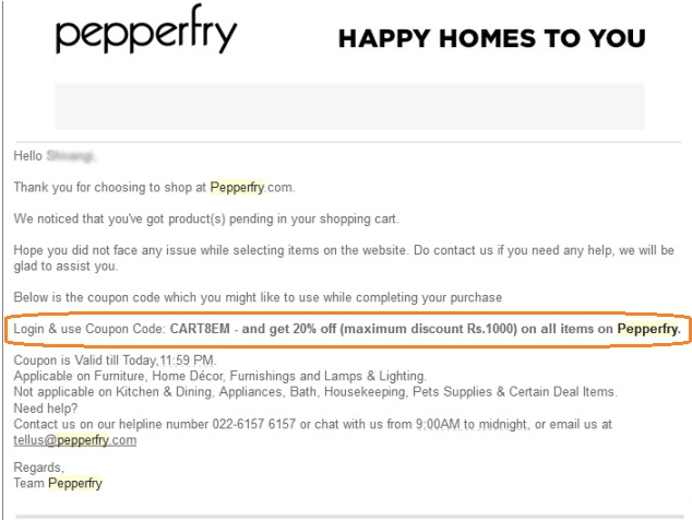 pepperfry email left cart