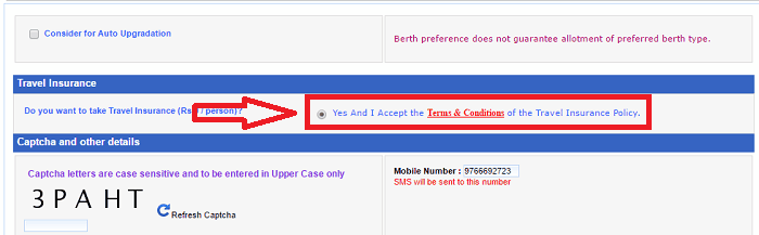 Choosing the insurance policy while booking IRCTC ticket