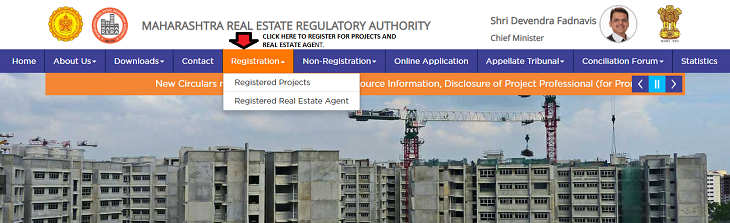 Snapshot of RERA website for registration