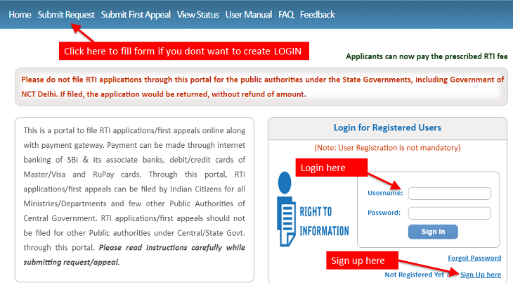 RTI login page where you can sign up and login to file your RTI request online