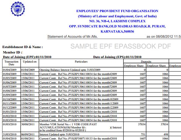 sample epf passbook