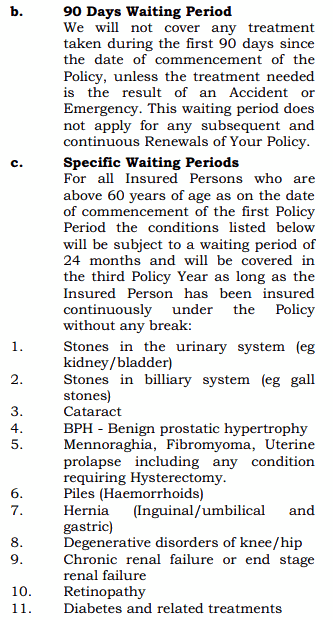 Specific Waiting period for senior citizens