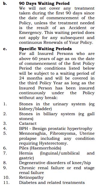 Specific Waiting period for senior citizens