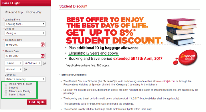 students discount flight