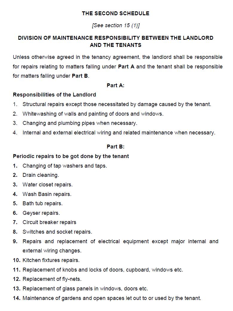 tenant landlord responsibilities model tenancy act
