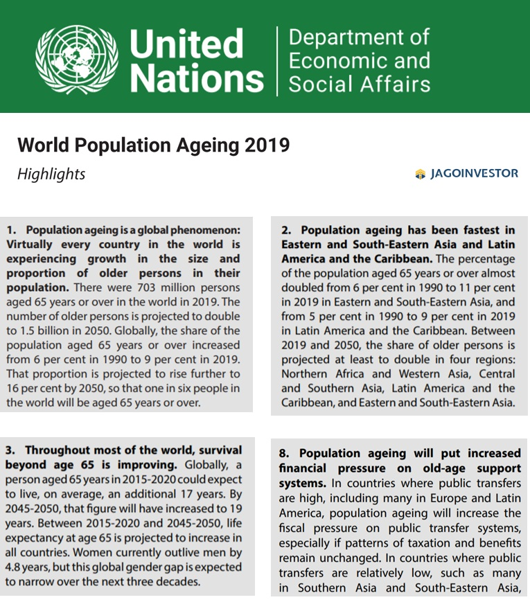 World Aging Population Report by United Nations