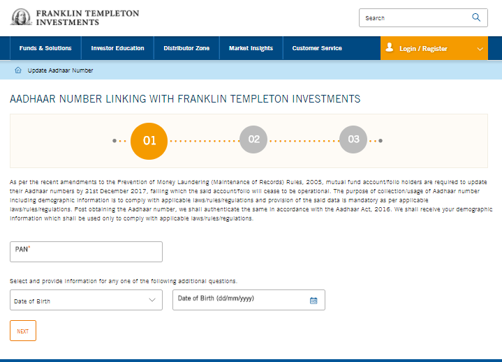 update aadhaar Franklin mutual fund