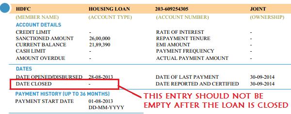 update cibil report after closing loan