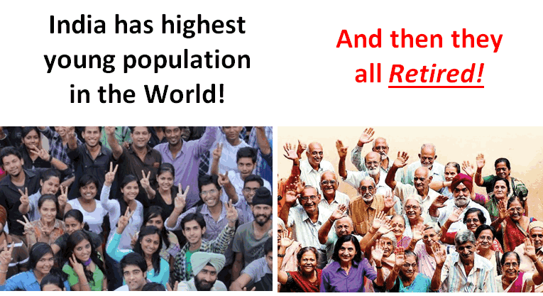 How young population of India will retire in few decades